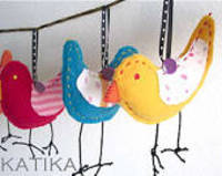 Colorful Bird Ornaments...by Katika from etsy.com