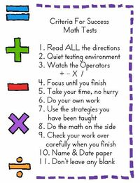criteria for success for math tests