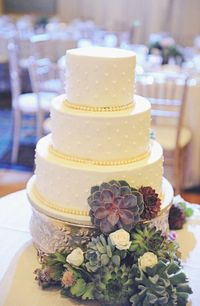 wedding cake with succulent accents